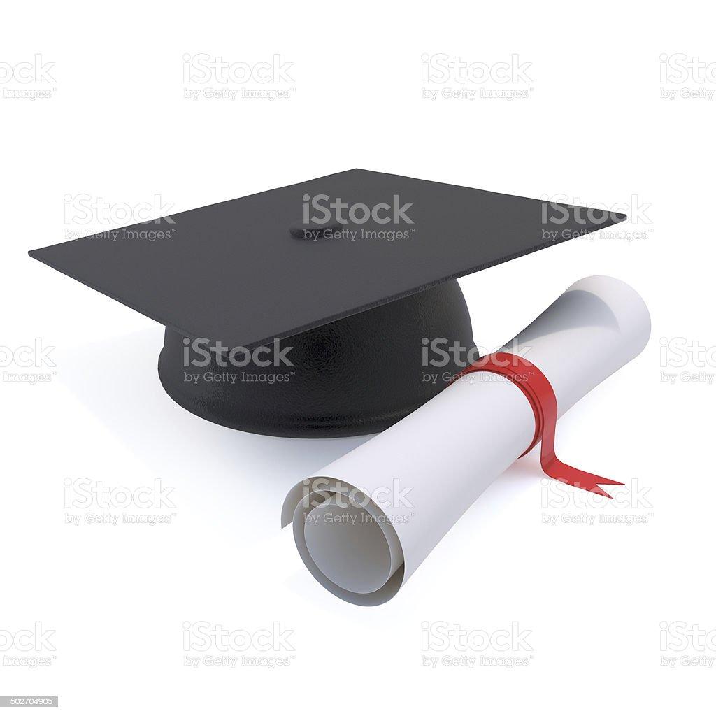 3d Graduates mortar board and diploma stock photo