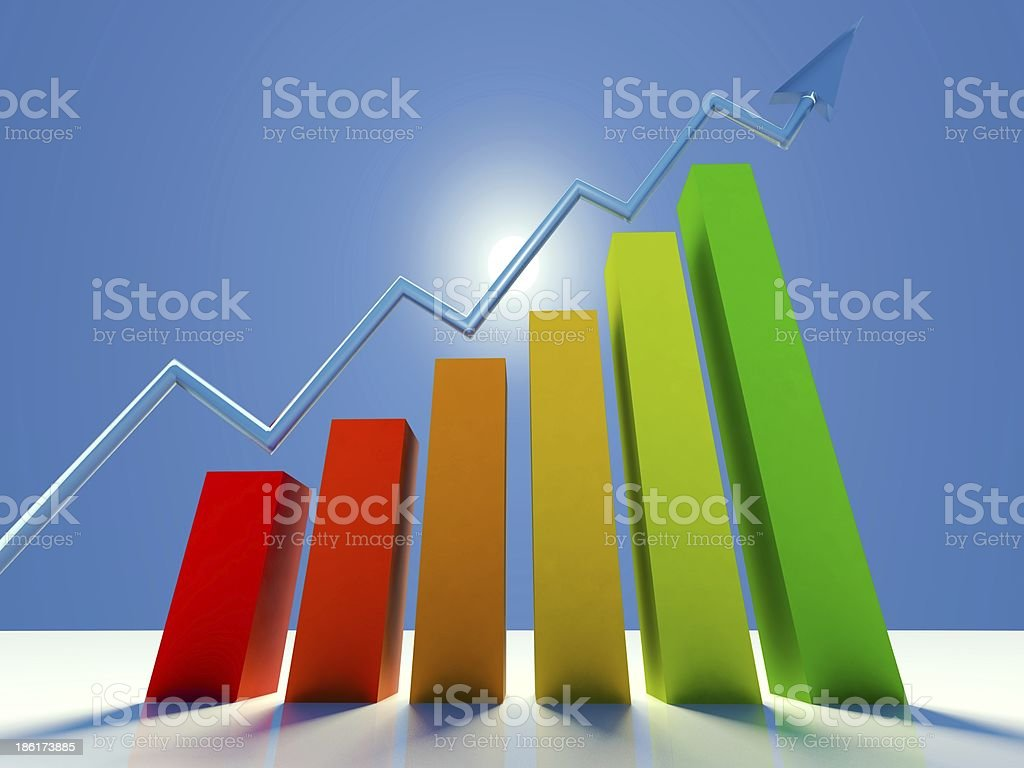 3d graph showing growing profits or earnings with arrow royalty-free stock photo