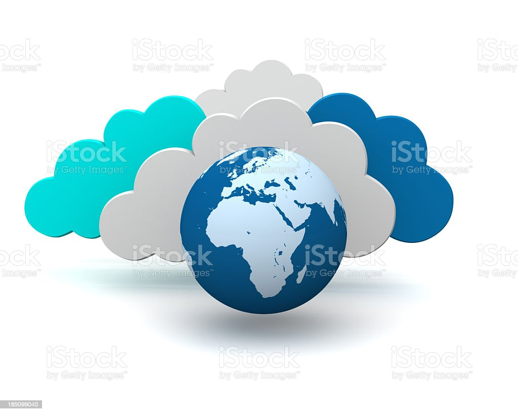 3d graphic symbol of global cloud technology royalty-free stock photo