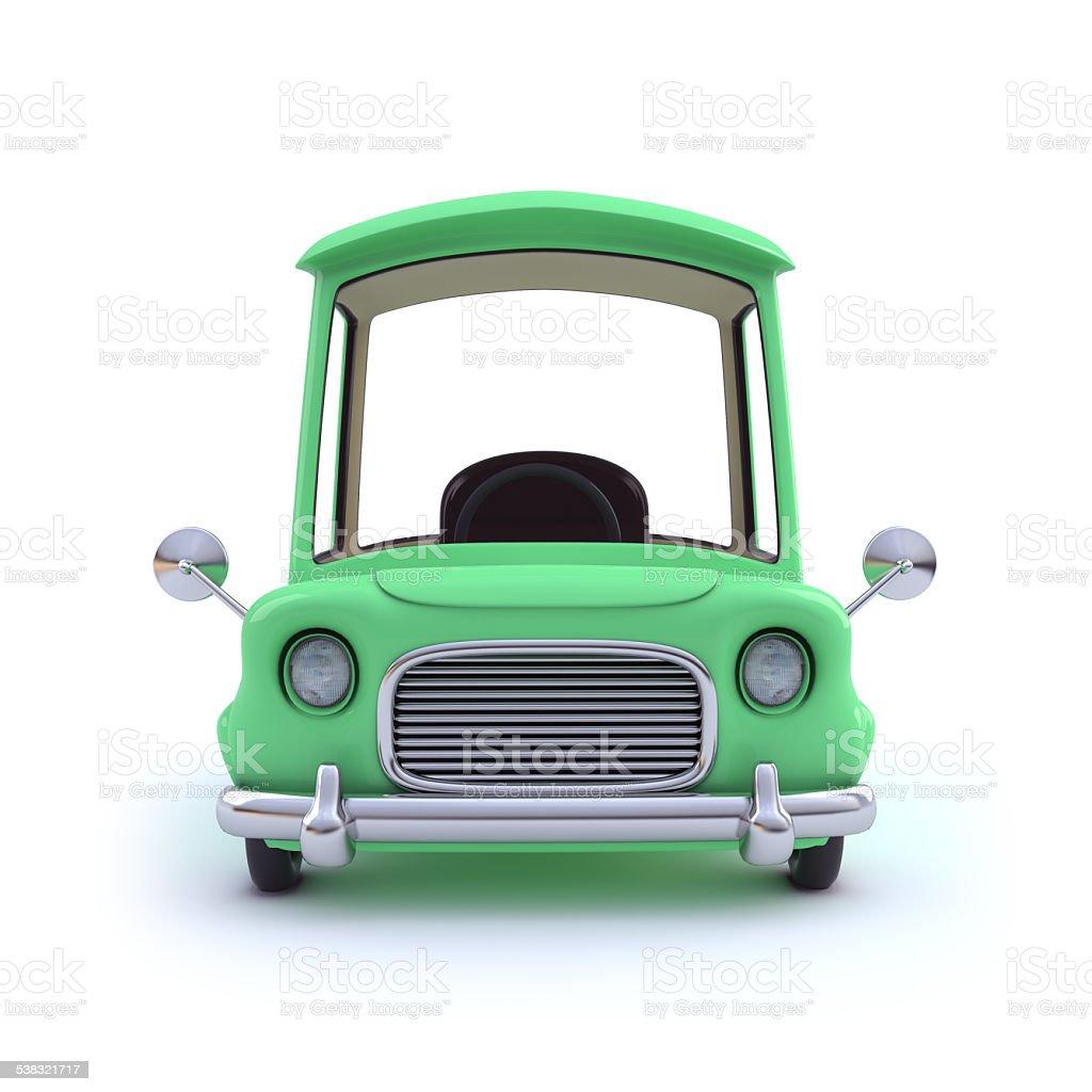 3d Green cartoon style car stock photo