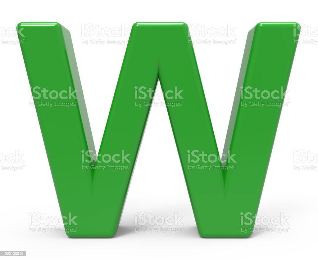 3d green letter W vector art illustration