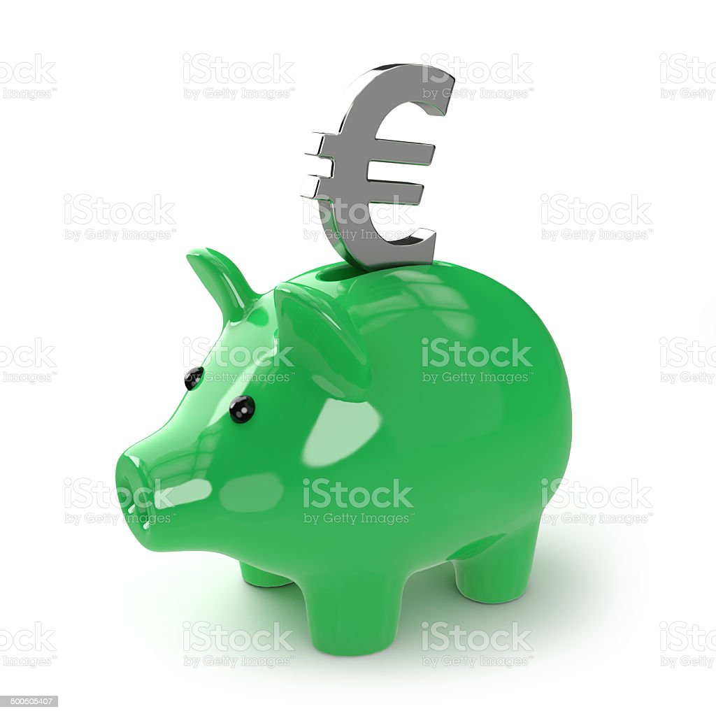 3d Green piggy bank with Euro symbol stock photo