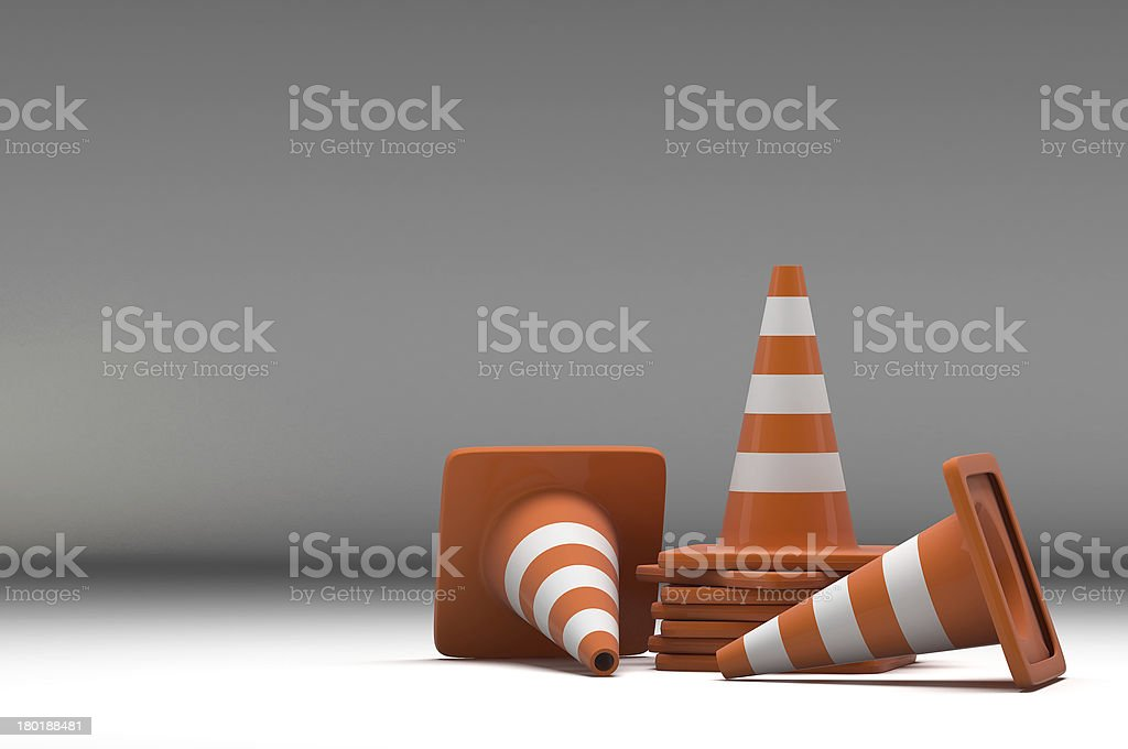 3d group traffic cone on white background royalty-free stock photo