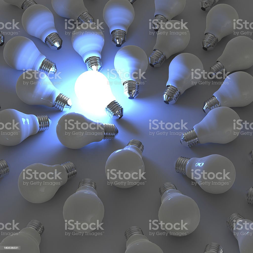 3d growing light bulb royalty-free stock photo