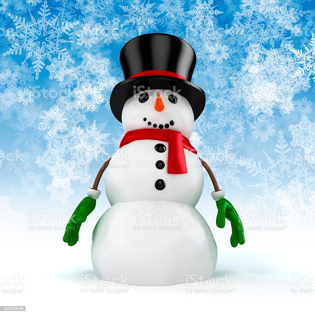 3d happy snowman with black hat on snowflakes background stock photo