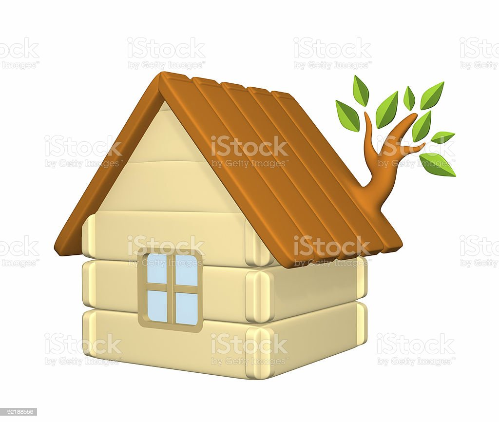 3d harmless house with an evolved branch on a roof royalty-free stock photo