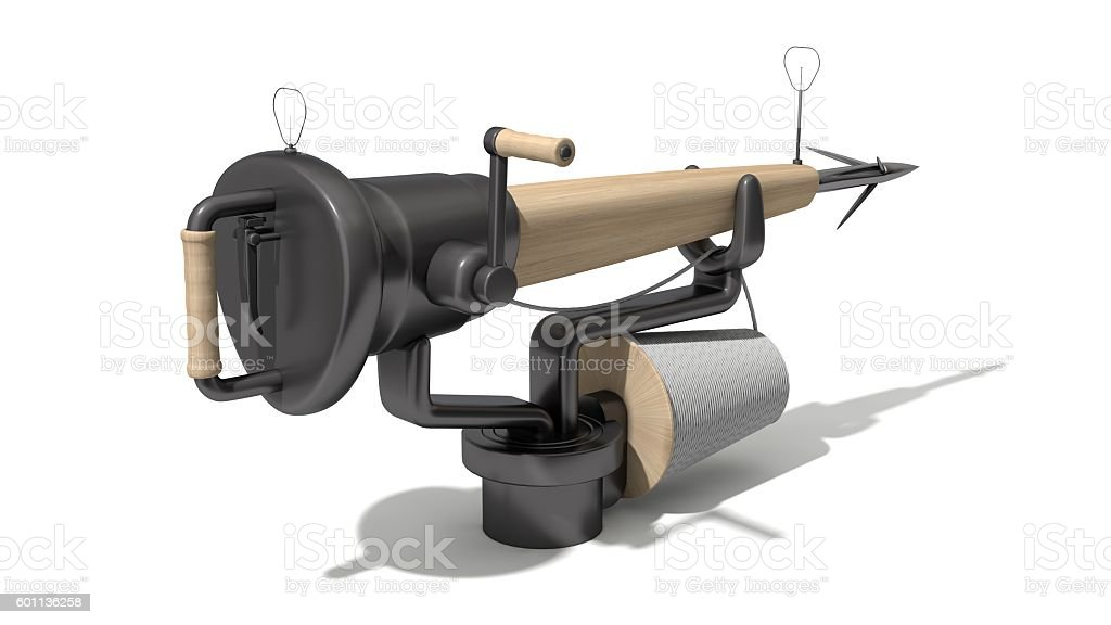3d harpoon cannon design stock photo
