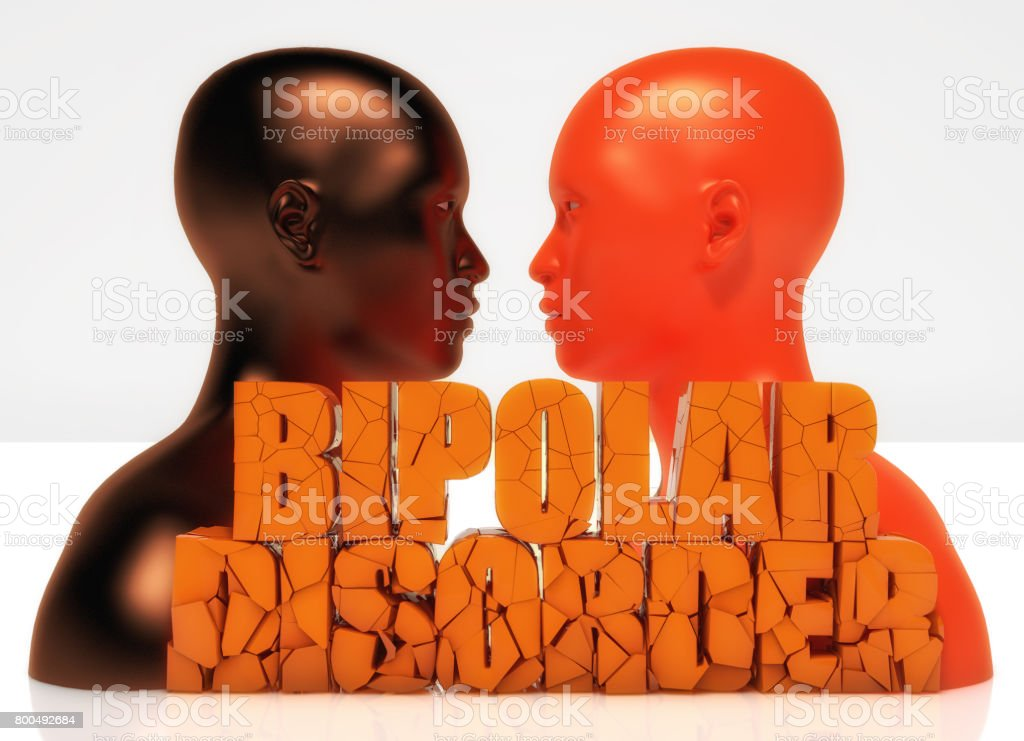3d head and bipolar disorder text stock photo
