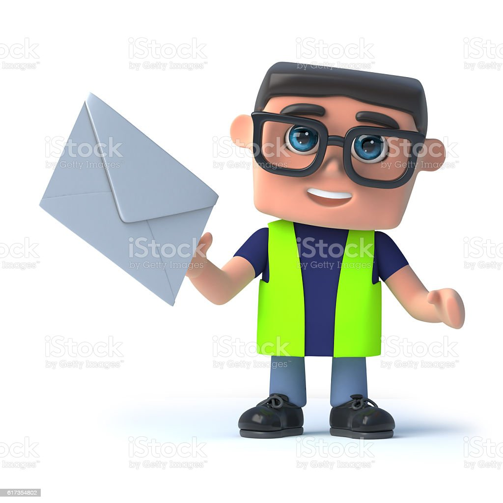 3d Health and safety man gets a letter stock photo
