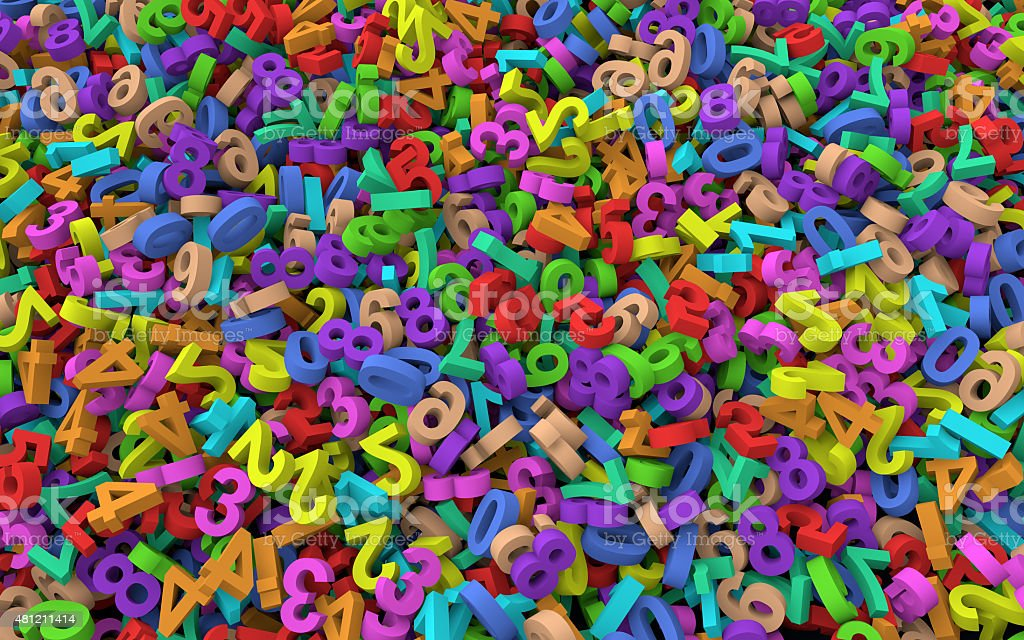 3d Heap of colorful numbers stock photo