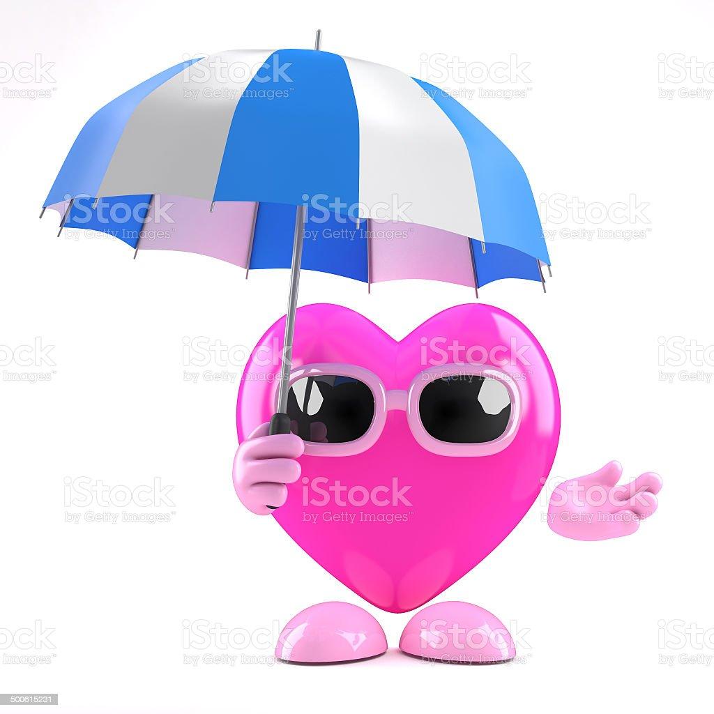 3d Heart under umbrella3d stock photo