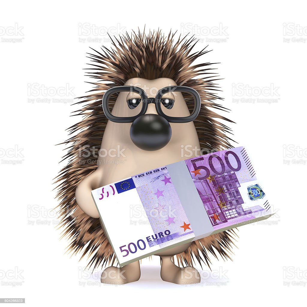 3d Hedgehog has lots of Euro currency royalty-free stock photo