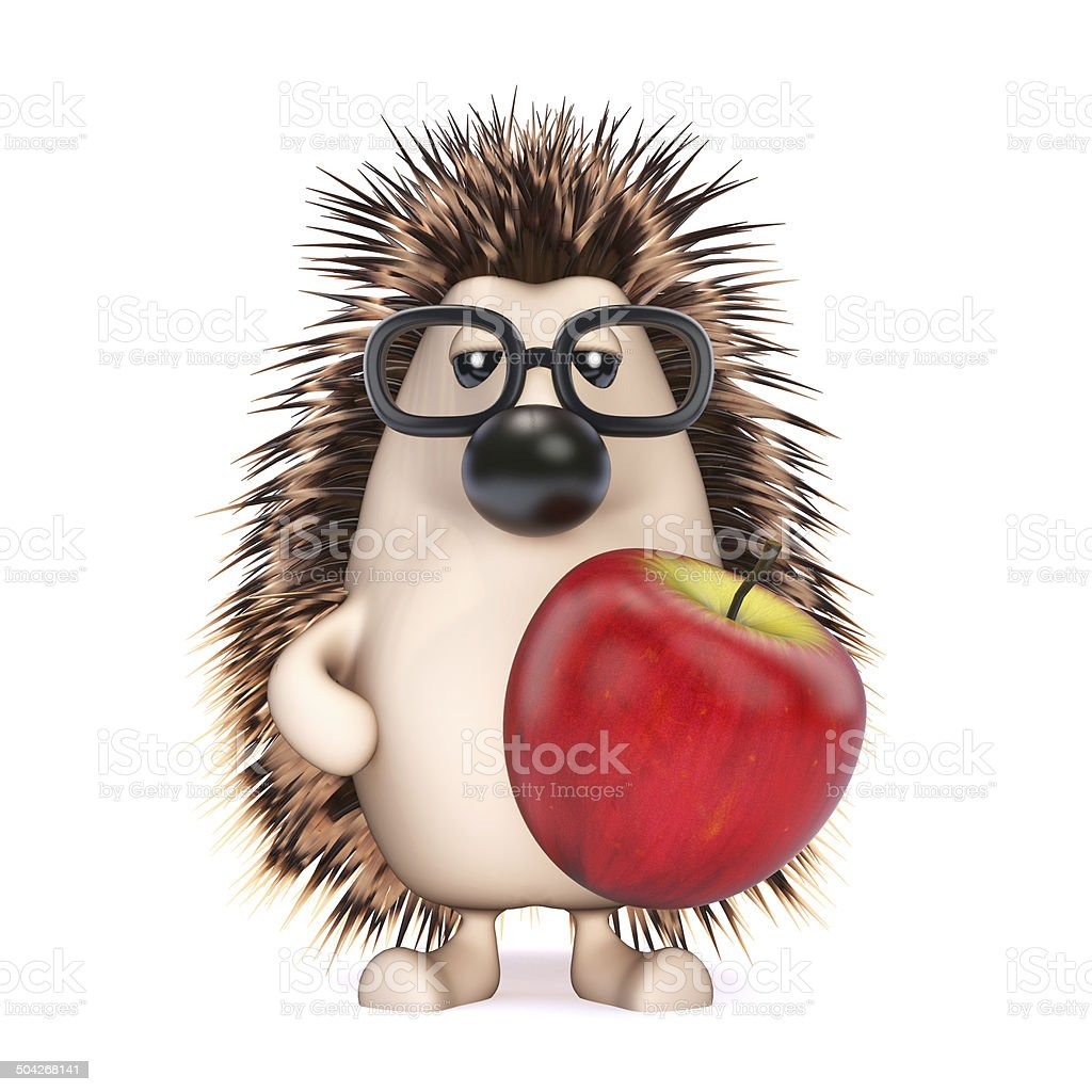 3d Hedgehog holding an apple royalty-free stock photo