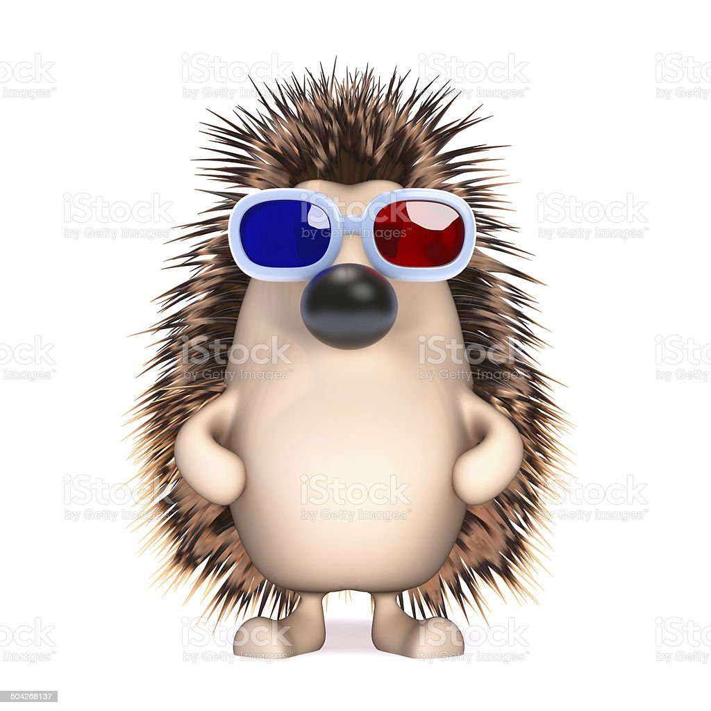 3d Hedgehog in 3d glasses royalty-free stock photo