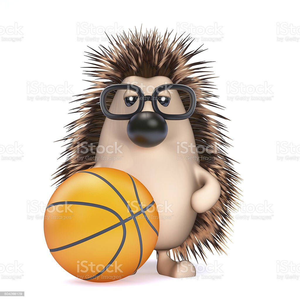 3d Hedgehog plays basketball royalty-free stock photo