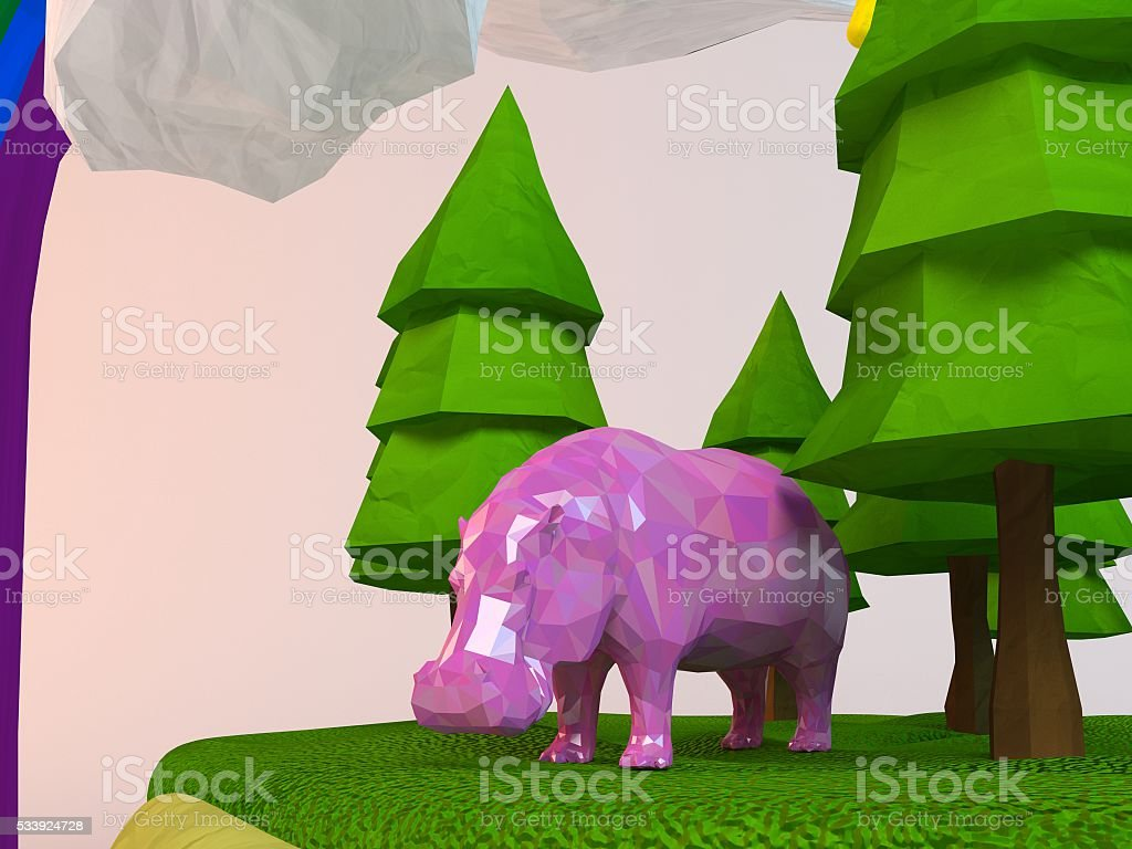 3d Hippo inside a low-poly green scene stock photo