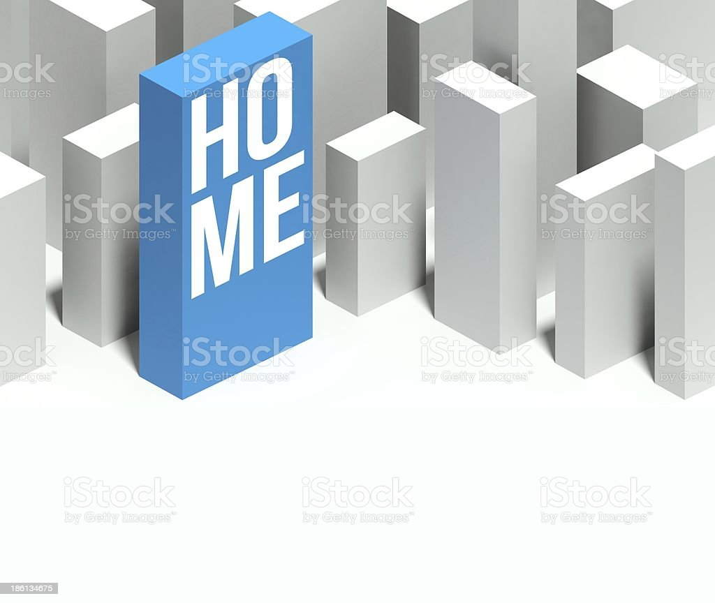 3d home conceptual model of city with distinctive skyscraper royalty-free stock photo