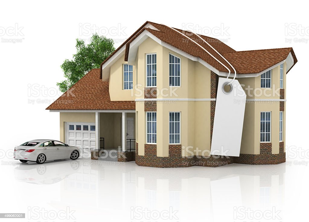3d house isolated on white rendered generic stock photo