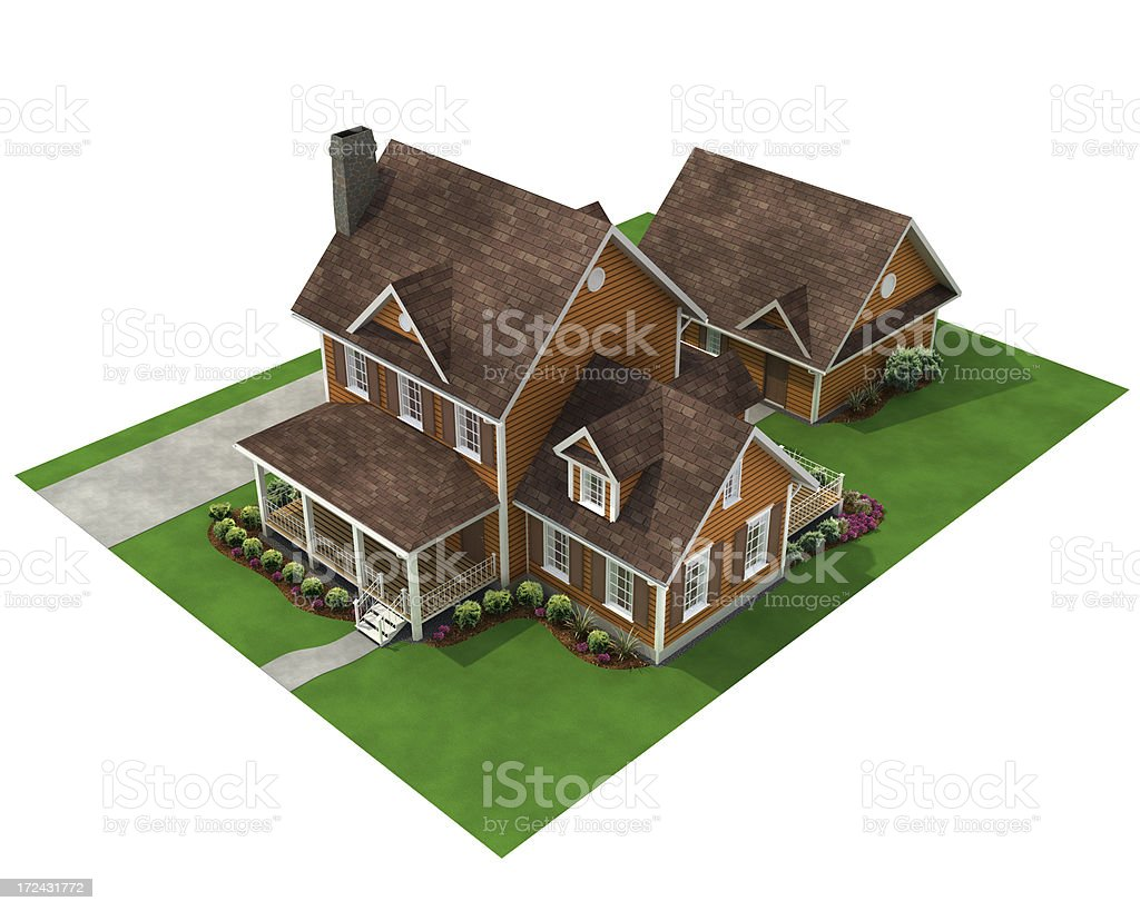 3d house with detached garage stock photo