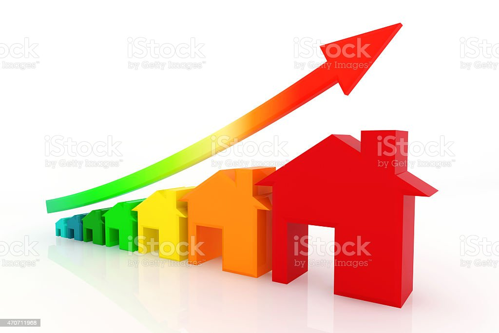 3d houses with red growing up graph. stock photo