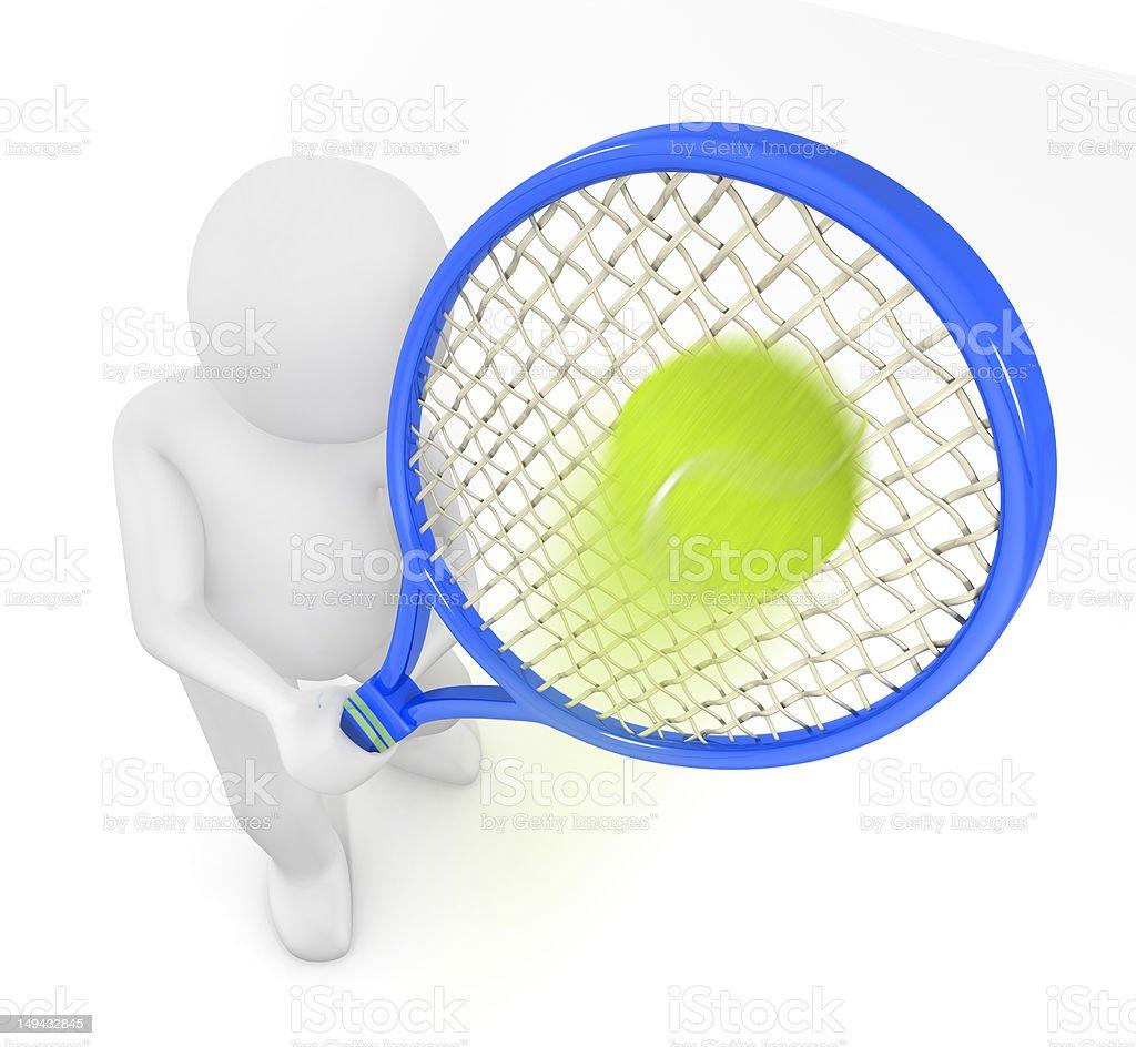 3d human hitting a tennis ball royalty-free stock photo
