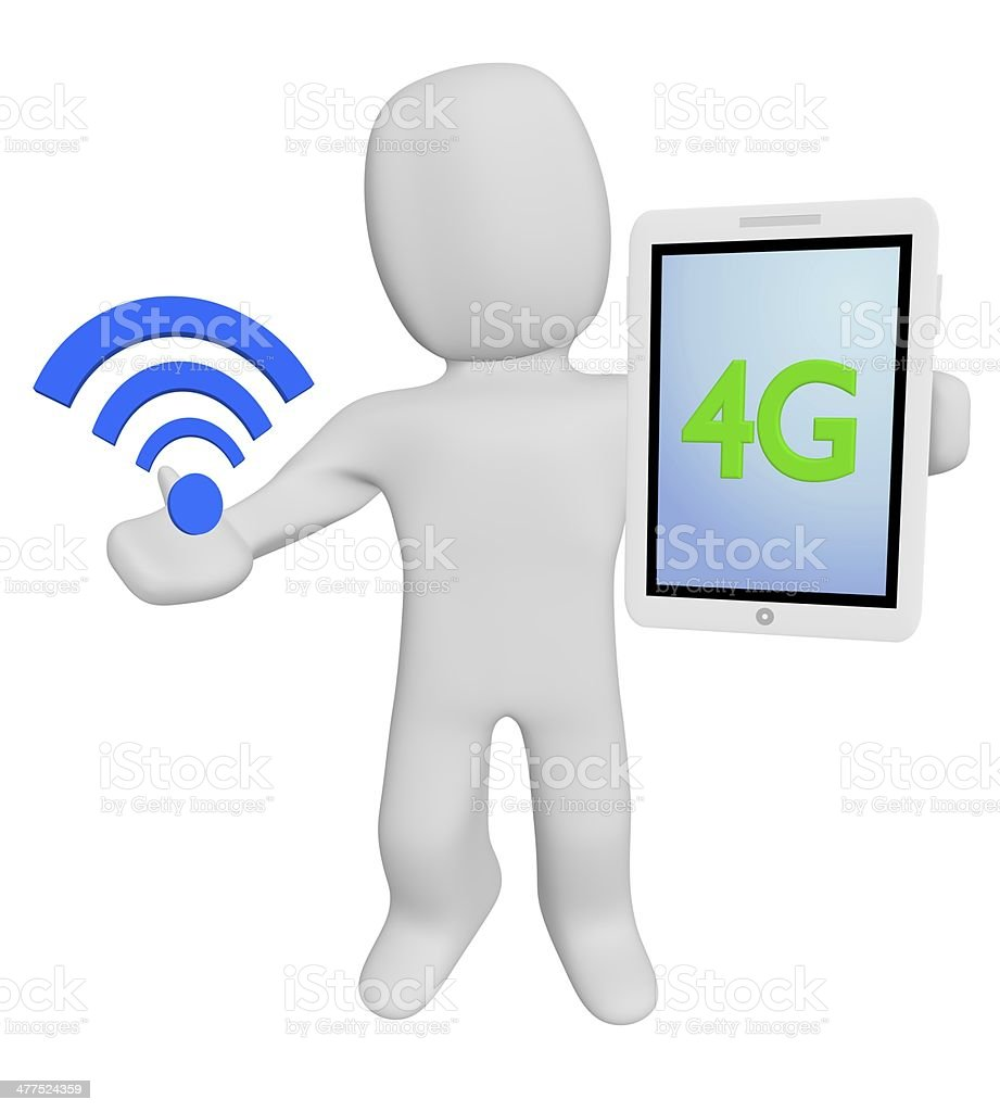 3d human hold wifi and 4G stock photo