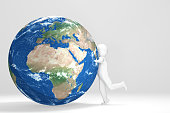 3d Human hugs Earth - Europe, Africa, Middle East