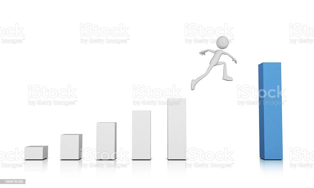 3d Human Jump to Next Step stock photo