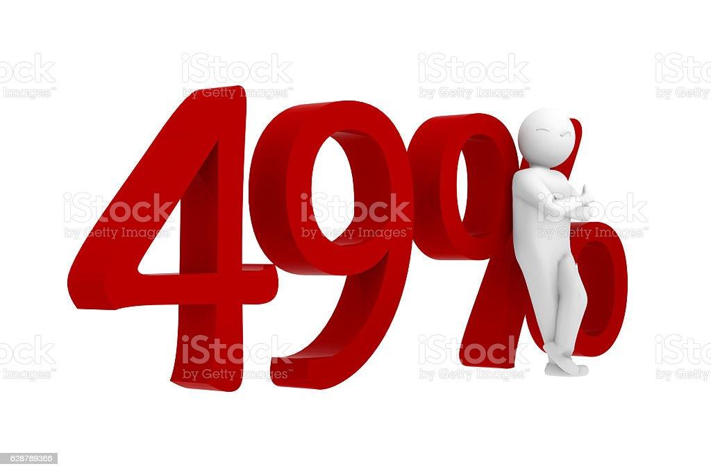 3d human leans against 49% stock photo