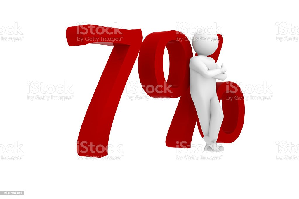 3d human leans against 7% stock photo