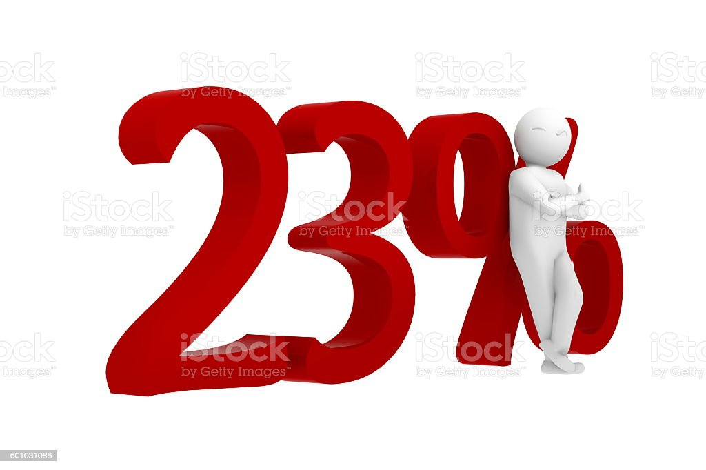 3d human leans against a red 23% stock photo