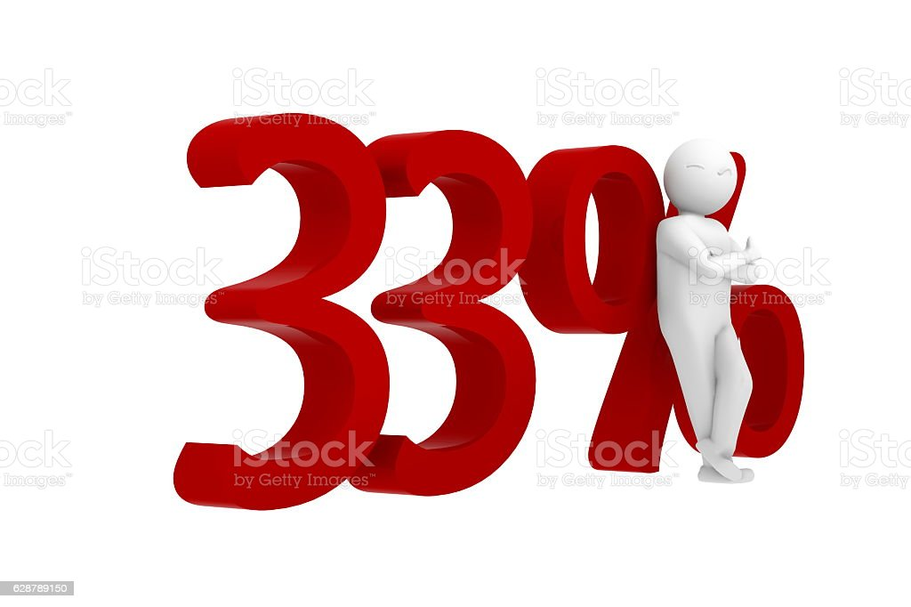 3d human leans against a red 33% stock photo