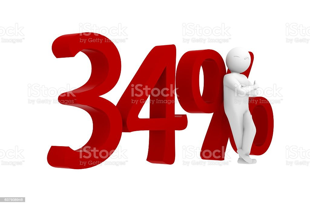 3d human leans against a red 34% vector art illustration