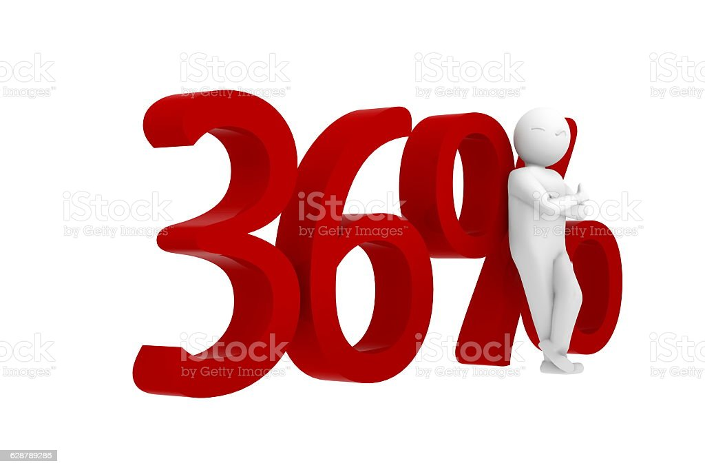3d human leans against a red 36% stock photo