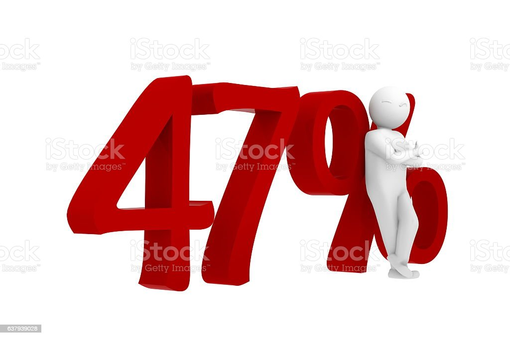 3d human leans against a red 47% vector art illustration