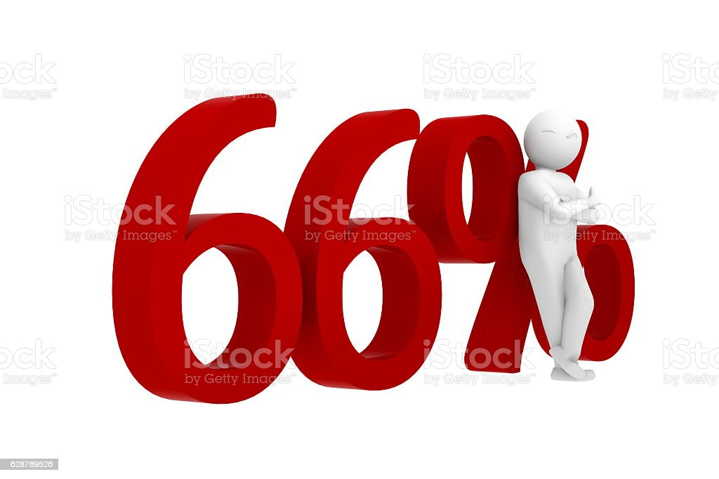 3d human leans against a red 66% stock photo