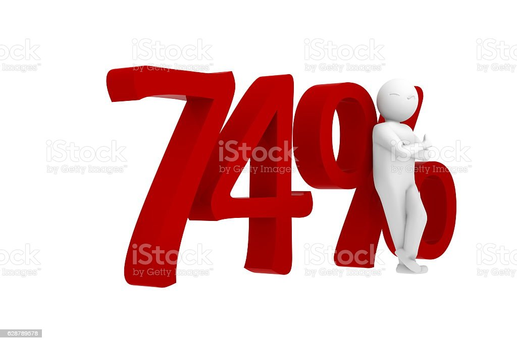 3d human leans against a red 74% stock photo
