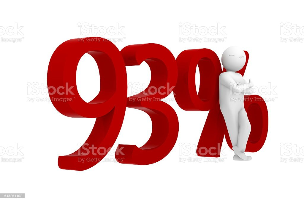 3d human leans against a red 93% stock photo