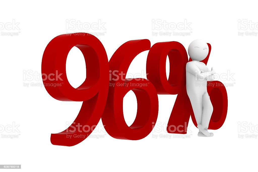 3d human leans against a red 96% stock photo