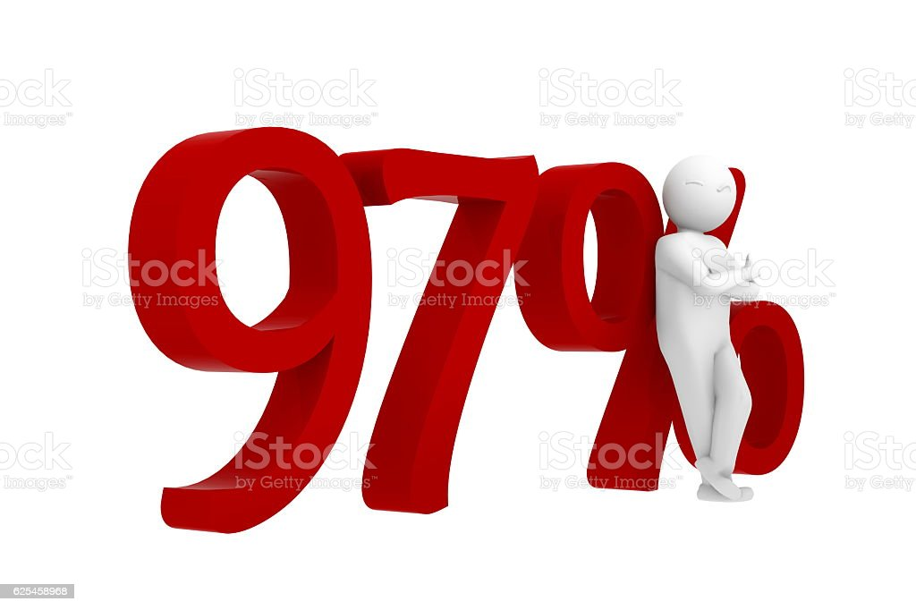 3d human leans against a red 97% stock photo