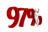 3d human leans against a red 97%