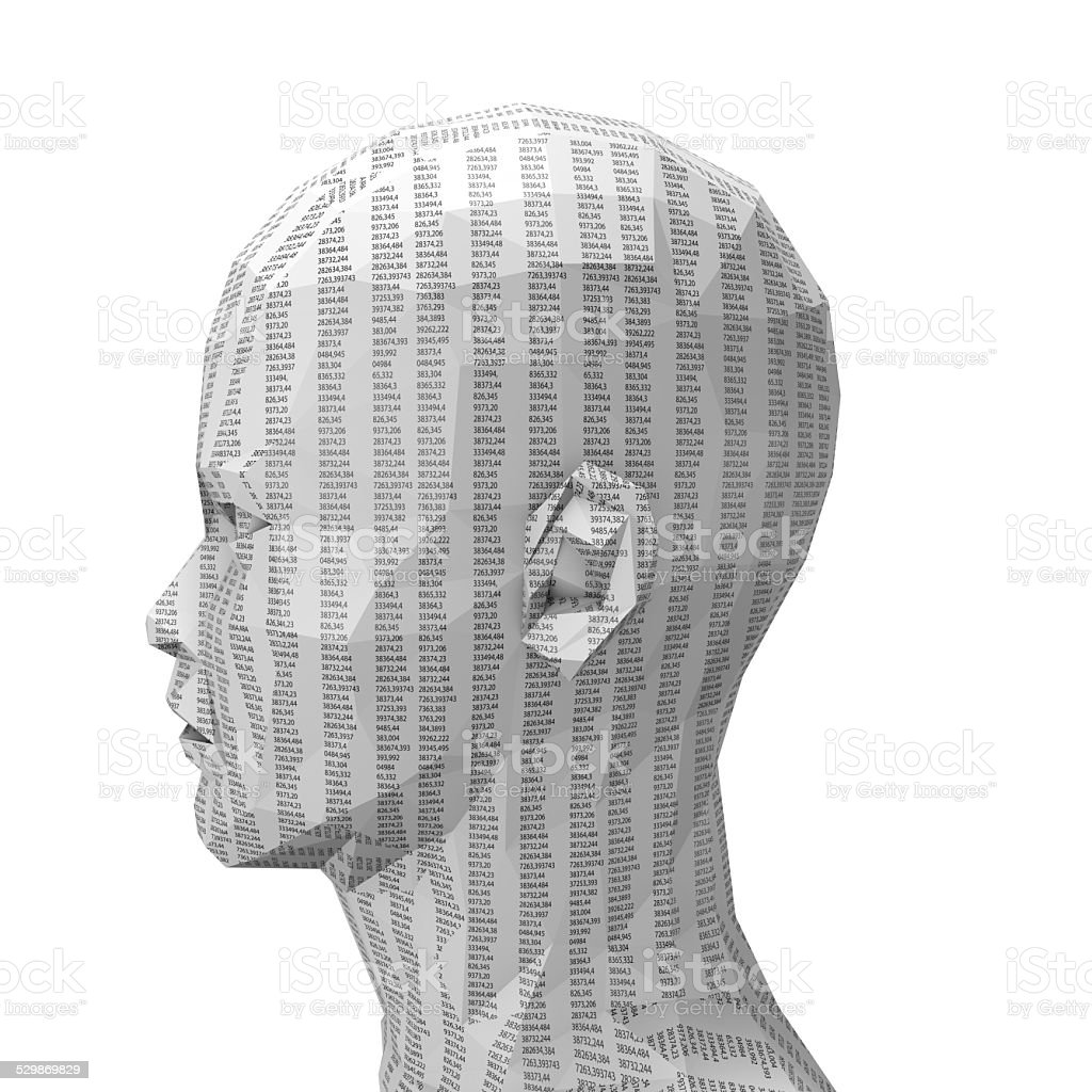 3d human paper face with numbers. Technology, science information idea stock photo