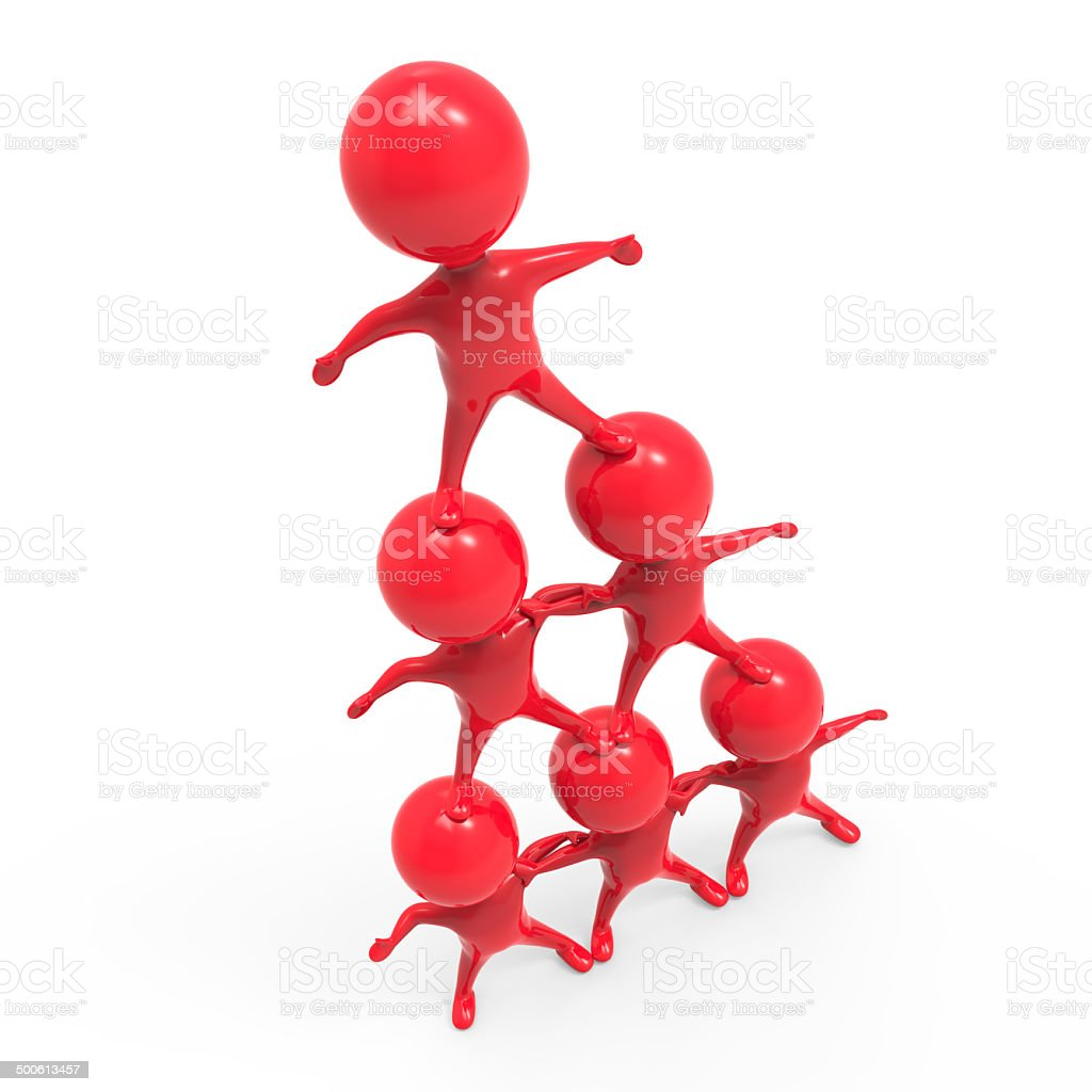 3d Human pyramid of red men stock photo