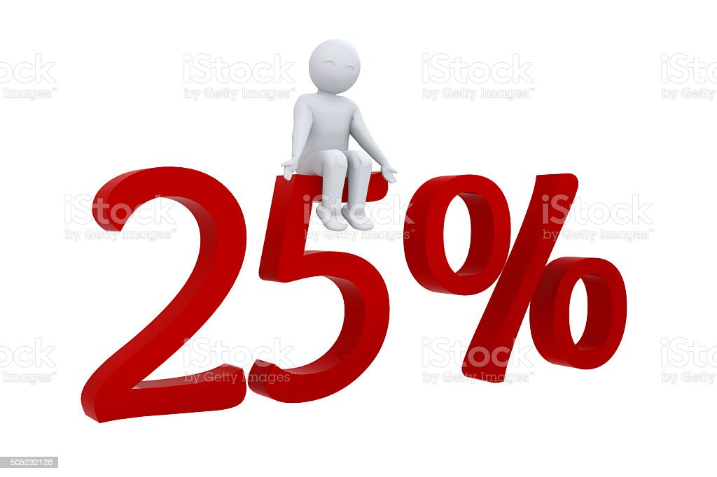 3d human sits on a red 25% stock photo