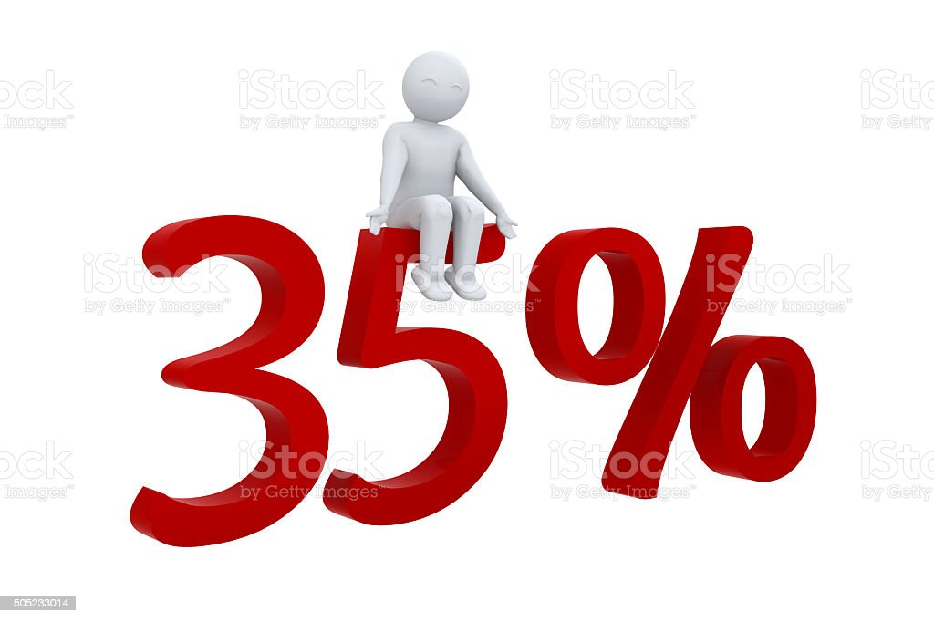 3d human sits on a red 35% stock photo