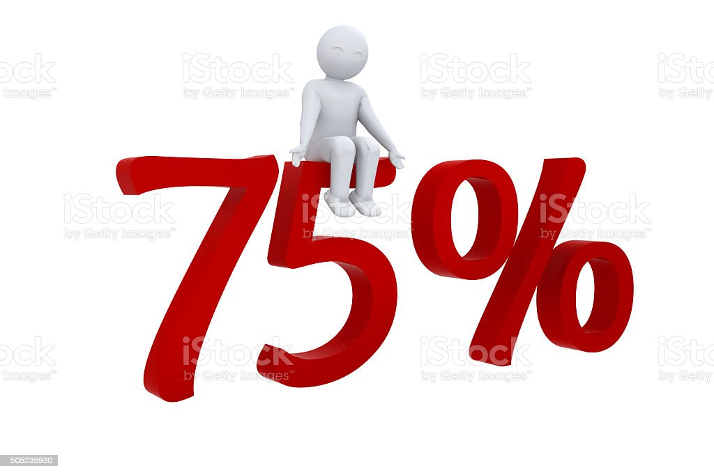 3d human sits on a red 75% stock photo