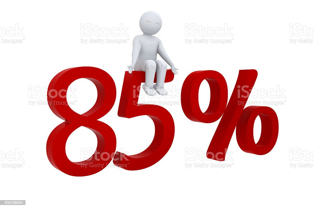 3d human sits on a red 85% stock photo