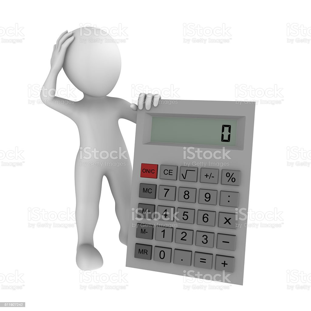 3d human with calculator showing zero stock photo