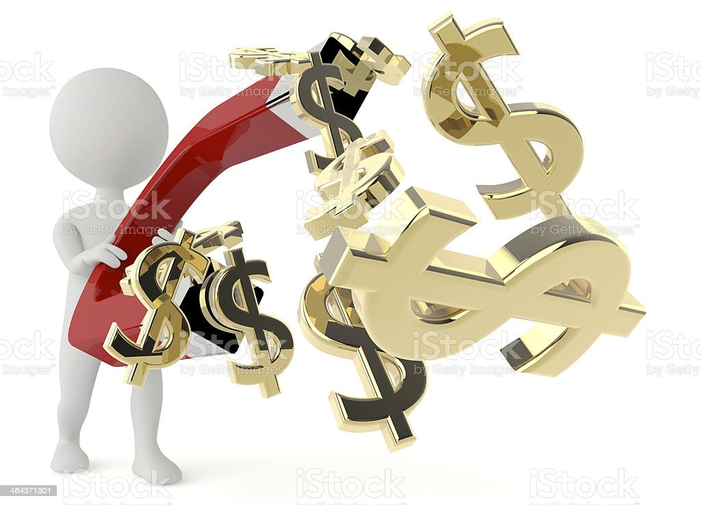 3d humanoid character hold with dollar currency royalty-free stock photo