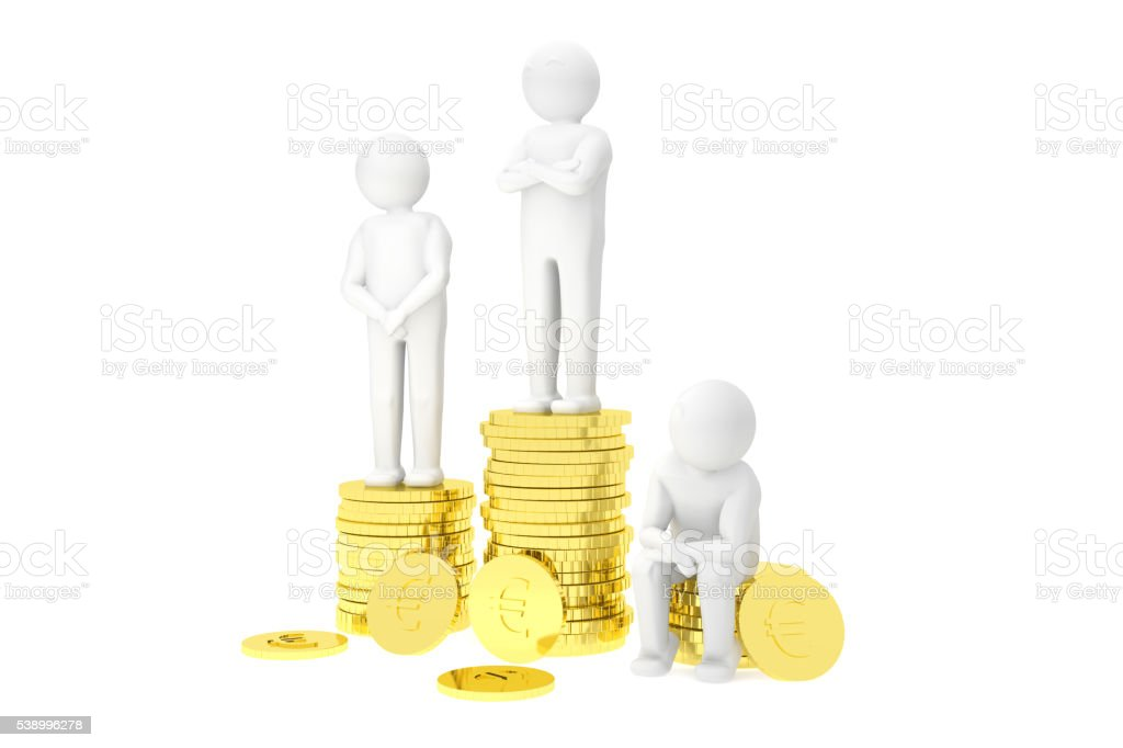 3d humans on a podium made of gold euro coins stock photo